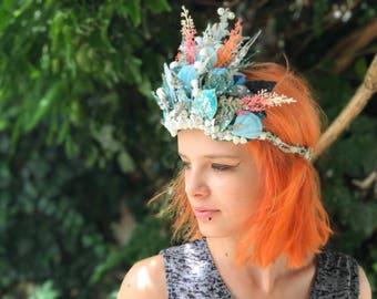 Fairytale hair wreath Hair wreat for mermaid Hair wreath with shells Summer hair wreath with sea theme Sea hair wreath Hair jewellery