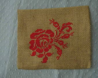 red rose embroidery on canvas aida dark beige