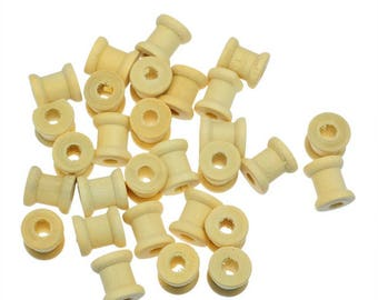 set of 2 beads natural wooden spool
