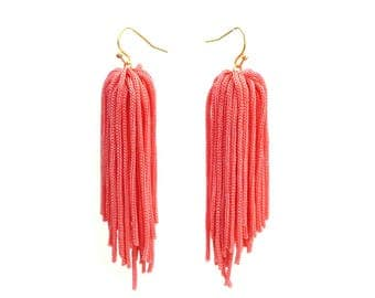 Eco friendly one of a kind burnt orange tassel earrings for her festival jewelry fashion statement, Boho Chic Ethical Jewelry / AARDE
