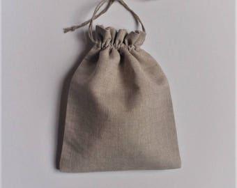 "5 Natural Linen Gift Bags * Linen Drawstring Pouches * Linen Bags * Light Linen Bags * Wedding Weekend Linen Bags * 3.5""x 5"" (9cm x 13cm)"