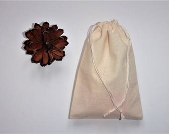 "Plain Cotton Bags * Drawstring Cotton Favor Bags * Small Cotton Bags * 50 Canvas Gift Bags * 4"" x 5"" (10cm x 13cm)"