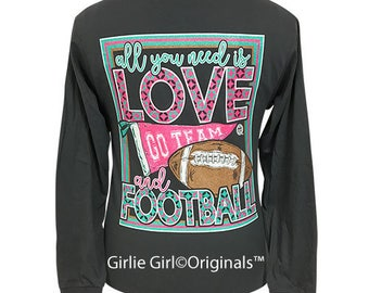 Girlie Girl Originals All You Need-Football Long Sleeve Charcoal T-Shirt