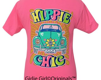 Girlie Girl Originals Hippie Chic Neon Pink Short Sleeve T-Shirt