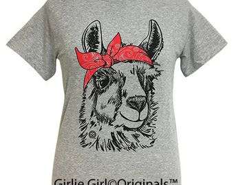 Girlie Girl Originals Paisley Bandana Llama Sport Grey Short Sleeve T-Shirt
