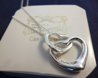 "Silver double heart pendant necklace - 925 - sterling silver - 18"" necklace - 1.25"" - Marked 925"
