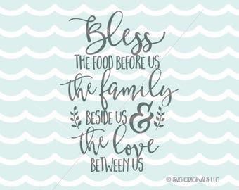 Bless The Food Before Us SVG Vector file. Thanksgiving SVG  Cut or Print. Circut Explore and more!  Thanksgiving Blessing