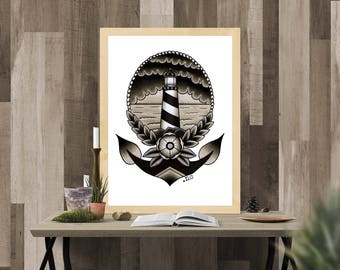 Lighthouse Tattoo Print