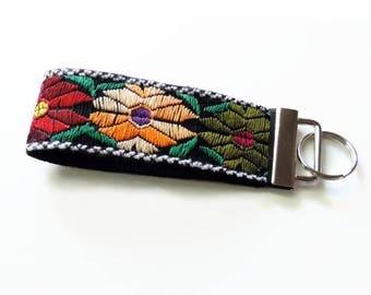 Boho Keychain, Floral Key Fob, Fabric Key chain, Woven Textile, Wristlet Keychain, Wristlet Key Fob, Key Ring