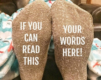 ON SALE If you can read this socks - custom thermal socks - if you can read this bring me a glass of wine - bring me a beer - funny wine soc