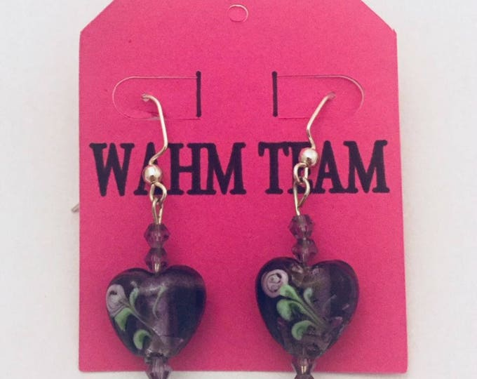Purple Beaded Earrings, Dangle Earrings, Drop Earrings, Heart Earrings, Purple Heart Beads, Purple Swarovski Crystal Beads, Silver Wires
