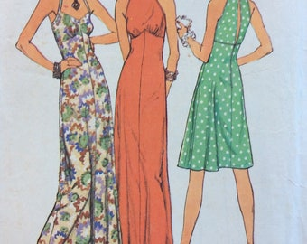 Simplicity 6510 vintage 1970's misses halter dress in two lengths sewing pattern size 6 & 8 bust 30 1/2 and 31 1/2  Stretch knits only