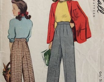 McCall 4816 girls slacks size 10 vintage 1940's sewing pattern