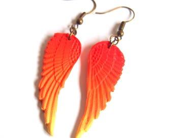 Wings Earrings (  ombre earrings orange wing earrings bridesmaid earrings yellow wing earrings polymer clay jewelry dangle earrings )