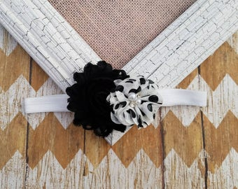 Black and white baby headband, toddler headband, baby headband, girls headband, flower headband, black and white headband, black and white