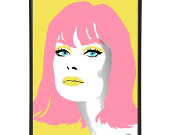 Jean Shrimpton illustration inspired by iconic 1960s fashion models, part of the 1960s models collection of pop art prints