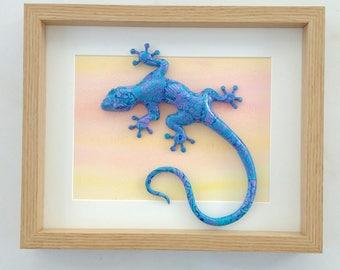 Gecko wall art, Custom gecko art, gecko sculpture, lizard sculpture, lizard wall art, framed gecko, polymer clay gecko, custom made