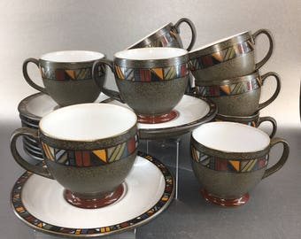 Denby Marrakesh 1 Of 10 Cups and Saucers Stoneware England Vintage Pottery