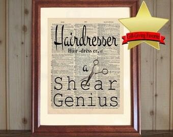 Hairdresser Print, Hair Stylist Gift, Hair Salon Decor, Hairdresser Gift, Hairdresser Quote, Cosmetology Gift, Dictionary Print, Best Seller