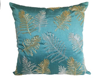 Teal Pillow Cover, Leaf Embroidery Pillow Cover