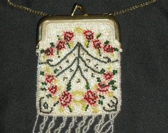 Darling Little White Floral Beaded Vintage Kiss Lock Coin Purse