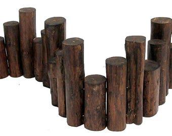 Teak Wood Uneven Top Solid Log Edging, TE 60