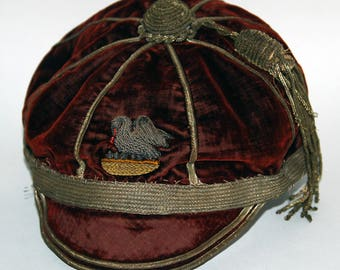 Tattered Old Velvet School Rugby Cap, possibly Corpus Christi College, Cambridge -- Free Shipping  US & Canada