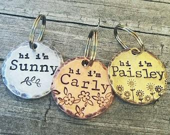 Pet ID Tag - Custom Made - Hand Stamped - Personalized - Dog ID - Dog Name Tag - Dog Tag - Hand Made Dog ID - Dog Jewelry - Hi I'm