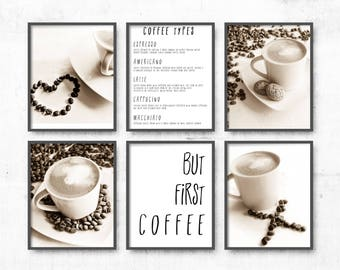 Coffee Photographs, Set of 6 prints, Coffee Poster, gallery wall art set, Kitchen Decor, coffee photography, Dining Room Decor Prints Set