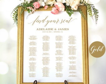 Gold Wedding Seating Chart Poster, Printable Wedding Seating Chart Sign Template, Alphabetical Seating Chart