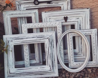 Set of 7 shabby chic vintage Farmhouse cottage style open frames set