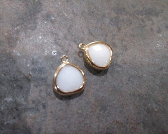 Opaque White bezel set faceted glass charms Package of 2 gold finish charms Bezel gemstone Charms
