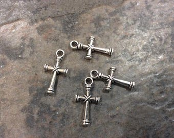 Cross charms package of 4 charms Rosary Charms Religious Charms Adjustable Bangle Charms Minimalist cross charms