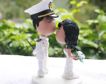 Wedding cake topper. US Navy Groom. Handmade. Fully customizable. Unique keepsake.