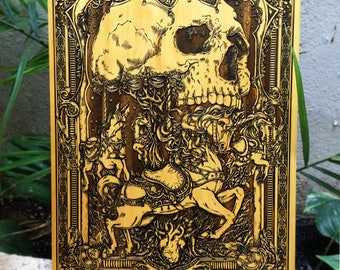 Gothic Unicorn, Goth Carousel Art on Wood, Goth Unicorn Skull, Limited Edition Art, Wood Engraving, Merry Go Round by Theoretical Part