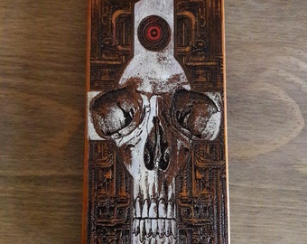 Skull Phone Case iPhone 5 SE 6 6S 7 8 PLus, Samsung Note 8 Phone Cover, Galaxy S6 S7 Edge S8 S9 Plus, Wooden Cell Phone Case Painted