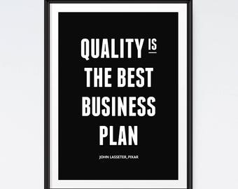 Quality Is The Best Business Plan, Printable Quote Art, Motivational Wall Decor, Inspirational Print, Quote Prints, DIGITAL DOWNLOAD ART