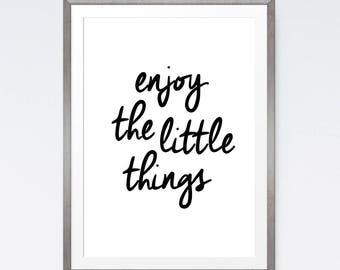 Enjoy the little things print, Dorm decor, Printable quotes, Downloadable art, Affordable art, Download quote, I love printable, Dorm room