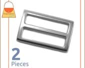 "1-1/2 Inch Center Bar Slide Purse Strap Slider Buckle, Shiny Nickel Finish, 2 Pack, 1.5"", Handbag Purse Hardware, 1.5 Inch, BKS-AA079"