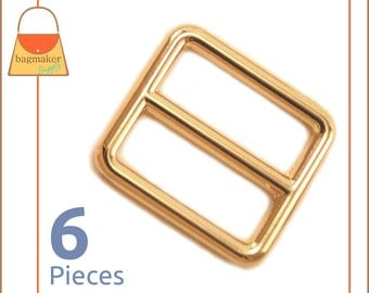"""One Inch Slide for Purse Straps, Shiny Gold Finish, 6 Pieces, Handbag Purse Bag Making Hardware Supplies, 1 Inch, 1"""", BKS-AA016"""