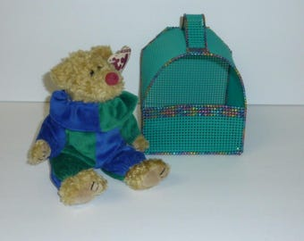Ty Beanie Baby Hand Woven Carrier Sm Bear Abby Bluebeary Frankenteddy Whiskers Nicholas Signature Clubby Glasses Aurora Fuzz Plush Tote