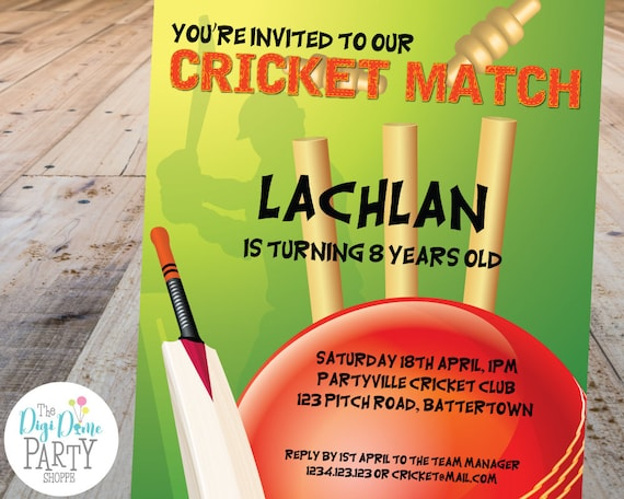 cricket printable party invitation template 5x7in green and red