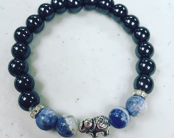Magnetich Hemalyke Strech Bracelet with Elephant Charm and Accent Stones