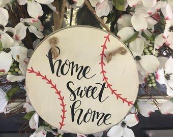 Wooden baseball sign - white - baseball sign - home sweet home