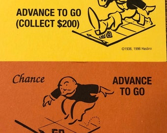 Set of Advance To Go Chance and Community Chest Monopoly Game Cards