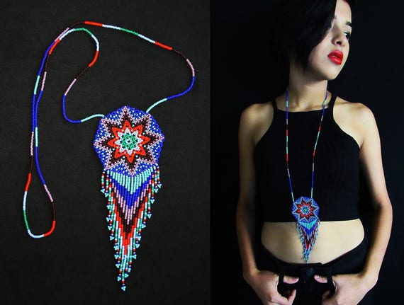 Tribal Medallion Necklace, Native American Style Beaded Necklace, Huichol Necklace, Beaded Sun Necklace, Starburst Necklace, Seed Bead