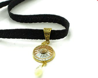 Sale - Christmas in July Black Choker Necklace, Gold Charm Choker Necklace, Gift for Daughter, Gift for Her, Gift for Girlfriend, Ribbon Nec