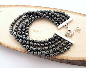 Black And Silver beads Bracelet, Silver Bracelet, Black Bracelet, Black Bracelet Silver, Cuff Bracelet Silver And Black, Black Cuff Bracelet