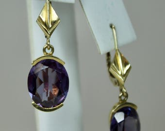 "Vintage 14K Yellow Gold 8ctw Purple Sapphires Drop Earrings 1.25"" Length Pierced Lever Backs c1980s"