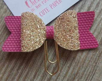 Small Gold Glitter and Pink 3D Bow